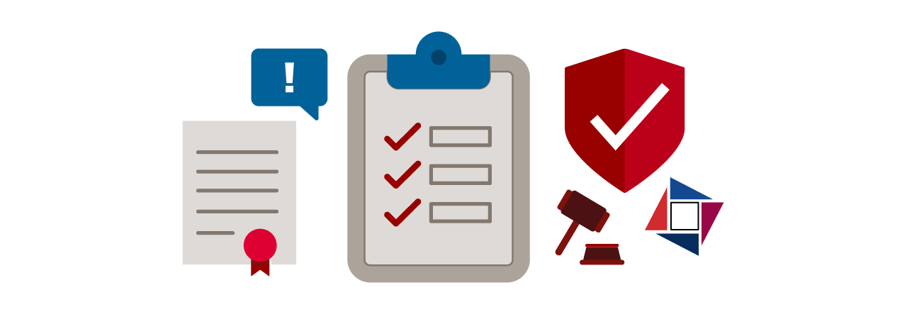 document with a ribbon, a textbox with an exclamation mark, a clipboard with a checklist, a shield with a checkmark, a gavel, and the SARA logo